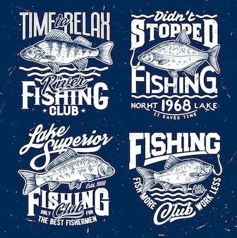 Stampe tshirt con pesce branzino, orata, carpa e carassio sulle onde del mare. schizzo mascotte vettoriali per club di pesca, emblemi di pesci marini per t-shirt. stampe grunge della squadra di sport oceanici per il set di abbigliamento