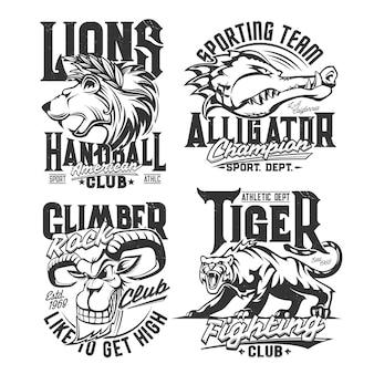 Stampe di magliette con mascotte di capra di montagna, alligatore, leone e tigre