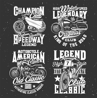 Stampe di magliette con bici da corsa fuoristrada vettoriali