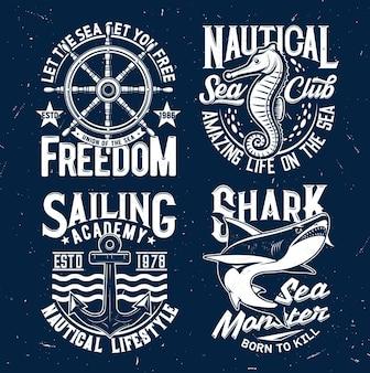 Stampe di magliette con squalo