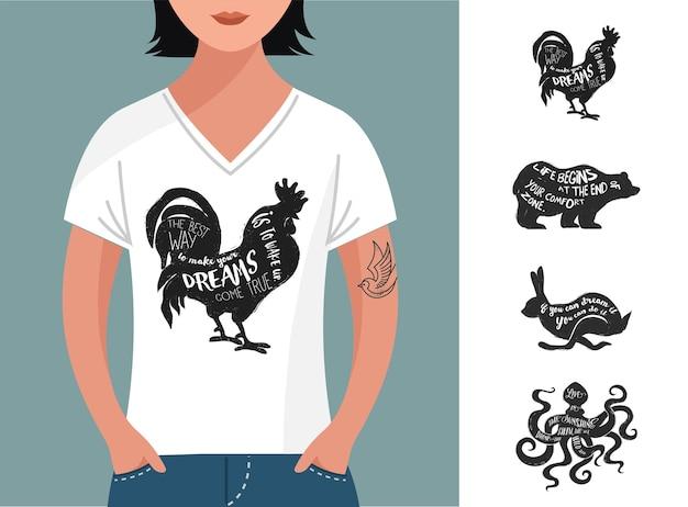 Maglietta con citazioni di ispirazione e animali