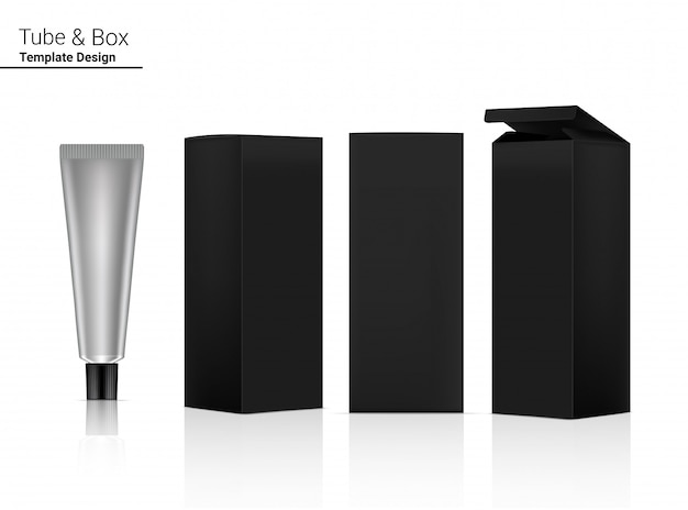 Cosmetico realistico della metropolitana e lato della scatola per l'illustrazione della merce di cura della pelle. assistenza sanitaria e concetto medico.
