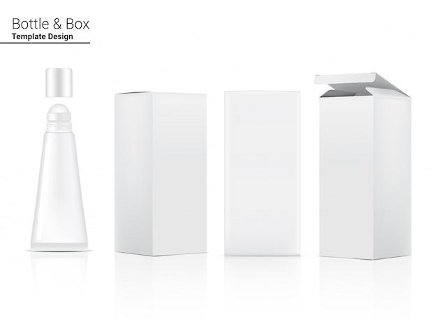 Cosmetico realistico e scatola della metropolitana per il prodotto di cura della pelle sull'illustrazione bianca del fondo. assistenza sanitaria e concetto medico.