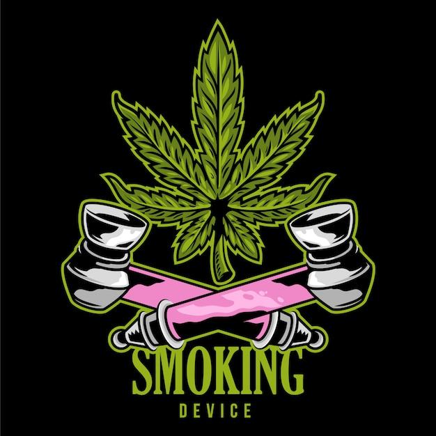 Tubo per fumo di cannabis speciale dispositivo per fumare erba di marijuana con foglia di canapa