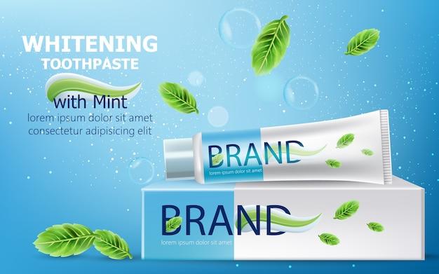 Tubetto di dentifricio sbiancante con sopra la menta. scatola di cartone circondata da bolle, scintillii e foglie. posto per il testo. realistico