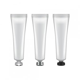 Tubo con coperchio bianco, argento e nero - crema, gel, cura della pelle, dentifricio. pronto per il tuo. modello di imballaggio Vettore Premium
