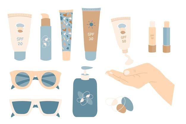 Tubi e flaconi di creme solari mani con crema spf protezione della pelle set crema solare
