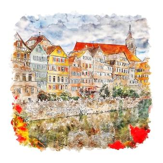 Illustrazione disegnata a mano di schizzo dell'acquerello di tubingen germania