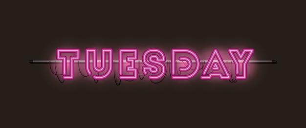 Martedì caratteri luci al neon