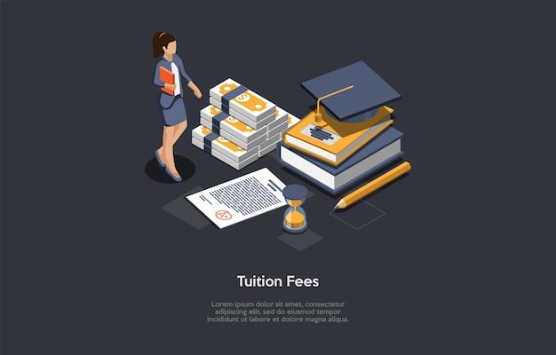 Illustrazione di concetto di tasse scolastiche in stile 3d del fumetto.