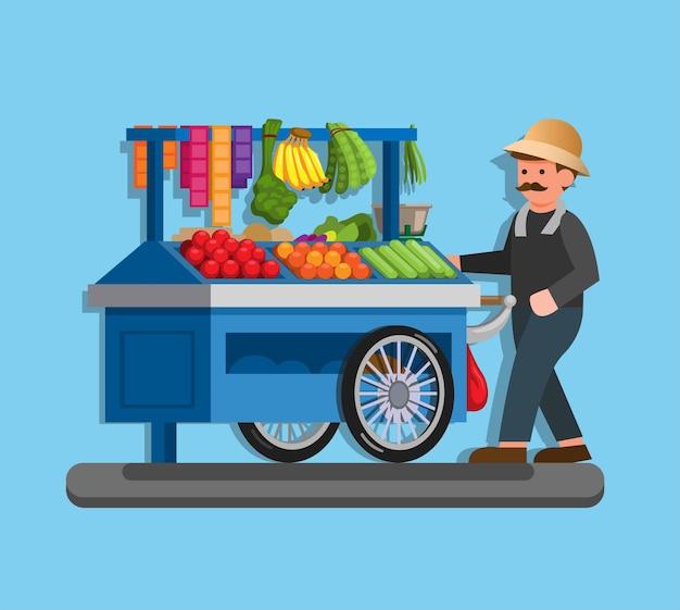 Tukang sayur keliling è un venditore indonesiano di frutta e verdura nell'illustrazione della stalla in un vettore piatto
