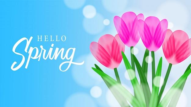 Fiore del fiore del tulipano con il cielo per la primavera