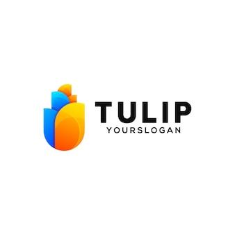 Modello di progettazione logo colorato tulipano