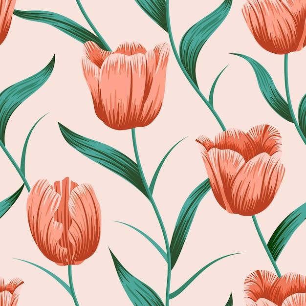 Modello senza cuciture floreale del tulipano con il fondo tropicale delle foglie