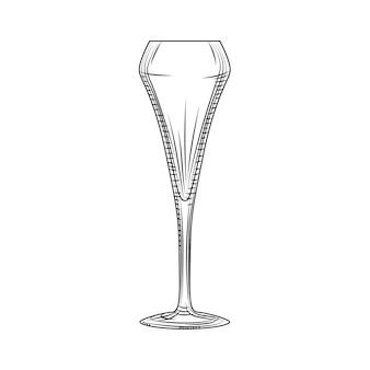 Bicchiere a tulipano. bicchiere da spumante. schizzo di bicchiere di champagne vuoto disegnato a mano. stile di incisione. illustrazione vettoriale isolato su sfondo bianco.