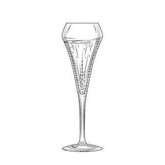 Bicchiere a tulipano. bicchiere da spumante. abbozzo di bicchiere di champagne pieno disegnato a mano. stile di incisione. illustrazione vettoriale isolato su sfondo bianco.