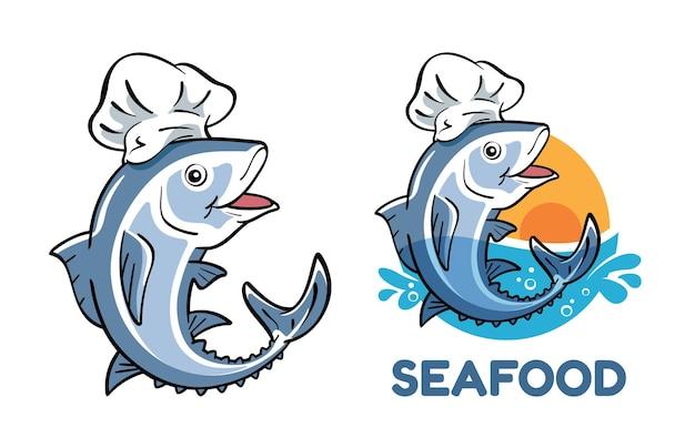 Personaggio dei cartoni animati di tonno che indossa il cappello da chef