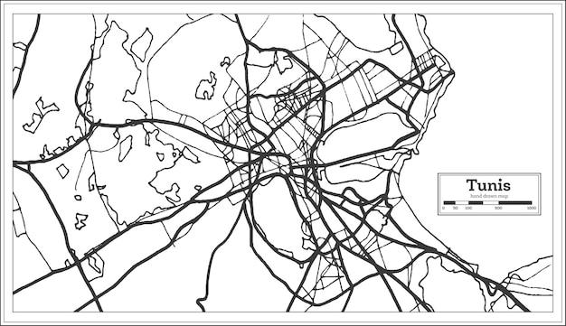 Tunisi tunisia mappa della città in colore bianco e nero. mappa di contorno. illustrazione di vettore.