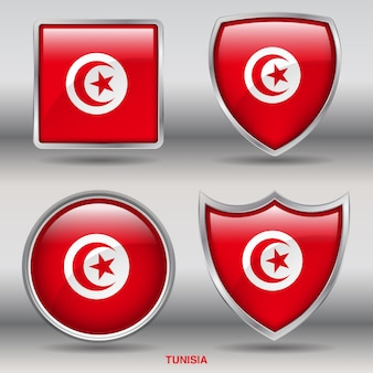 Bandiera tunisia bevel 4 forme icona