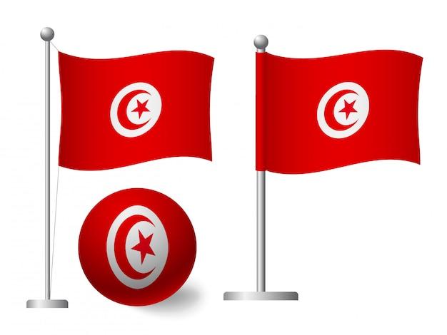 Bandiera della tunisia sull'icona palo e palla