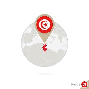 Mappa e bandiera della tunisia in cerchio. mappa della tunisia, perno della bandiera della tunisia. mappa della tunisia nello stile del globo. illustrazione di vettore.