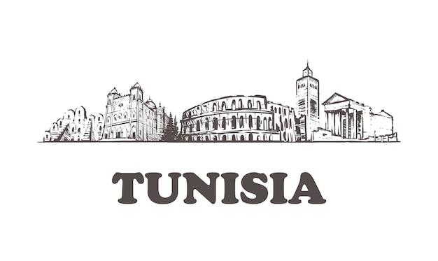 Paesaggio urbano di schizzo della tunisia isolato su bianco