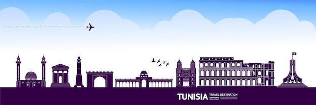 Grande illustrazione della destinazione di viaggio della tunisia