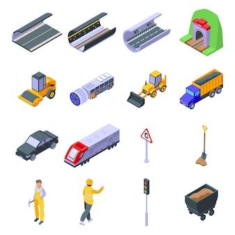 Set di icone di tunnel. set isometrico di icone di tunnel per il web