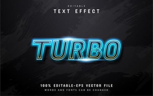 Testo turbo, effetto di testo in stile neon blu