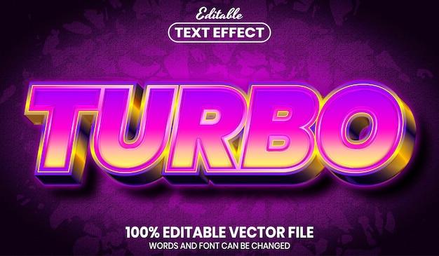Testo turbo, effetto testo modificabile in stile carattere