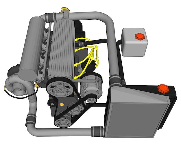 Un motore turbo a quattro cilindri ad alte prestazioni per un'auto sportiva. illustrazione a colori vettoriale con tratti di contorni di dettagli.