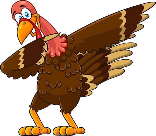 Tamponando personaggio dei cartoni animati di tacchino uccello. illustrazione isolato su sfondo bianco