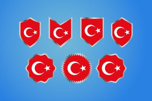 Bandiera del paese della turchia con badge del bordo d'argento