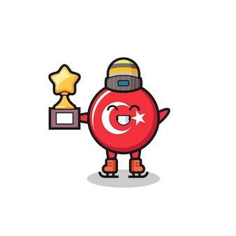 Il fumetto del distintivo della bandiera della turchia come un giocatore di pattinaggio sul ghiaccio tiene il trofeo del vincitore, design in stile carino per maglietta, adesivo, elemento logo