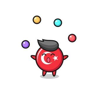 Il fumetto del circo del distintivo della bandiera del tacchino che gioca con una palla, un design in stile carino per maglietta, adesivo, elemento logo