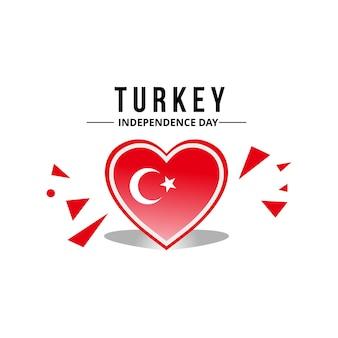 Vettore di bandiera della turchia con motivo a cuore