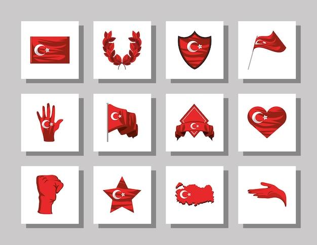 Bandiere turche di varie forme Vettore Premium