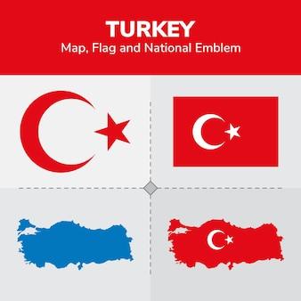 Mappa di turchia, bandiera e emblema nazionale