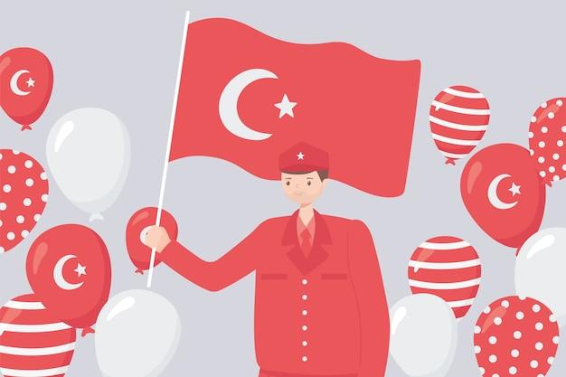 Festa della repubblica della turchia, eroe soldato con bandiera e illustrazione di palloncini