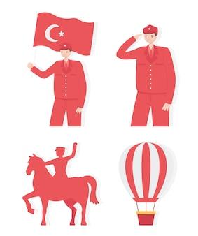 Insieme dell'illustrazione di giorno della repubblica della turchia