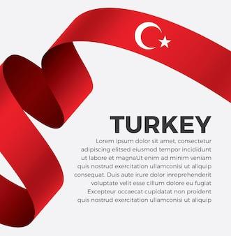 Illustrazione di vettore della bandiera del nastro della turchia su una priorità bassa bianca vettore premium