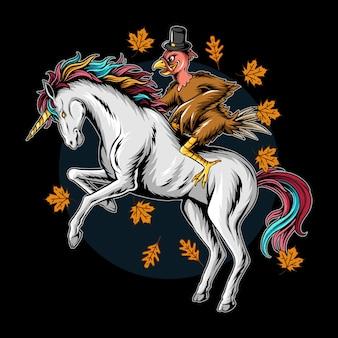 Tacchino il giorno del ringraziamento cavalcando un unicorno che corre veloce