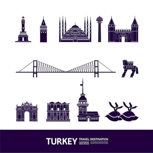 Grande illustrazione della destinazione di viaggio della turchia.
