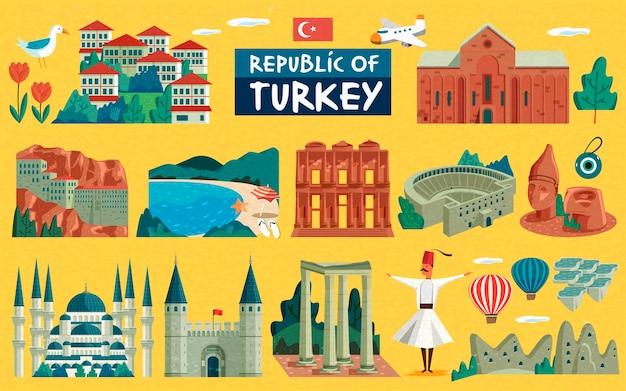 Illustrazione di viaggio in turchia con segni di famose attrazioni, superficie gialla