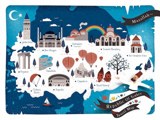 Mappa di viaggio della turchia e parole turche per quanto è bello nell'angolo in alto a destra, torre di galata sul lato sinistro e rovine di ani sul lato destro