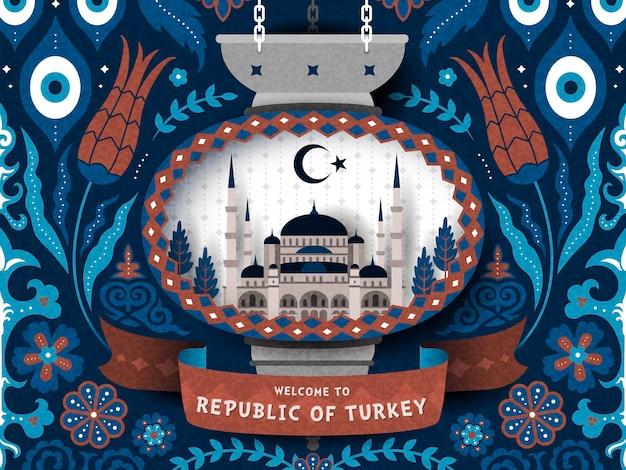 Poster di viaggio in turchia con motivo decorativo turco e illustrazione della moschea