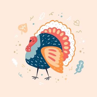 Turchia con decoro naturale. biglietto di auguri del ringraziamento. illustrazione piatta.