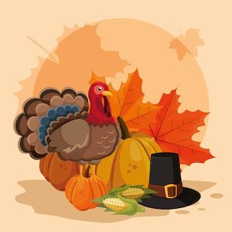 La turchia con zucche e cappello pellegrino del giorno del ringraziamento