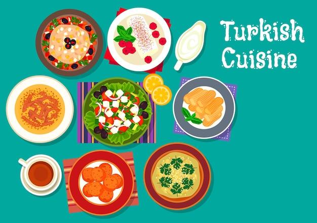 Cucina turca insalata di melanzane alla griglia, zuppa di agnello, polpette di carote fritte