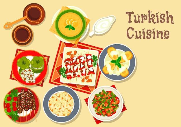 Cucina turca kebab alla griglia e kofte di polpette con dolma di peperoni ripieni